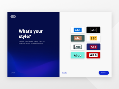 What's your style? go site builder ux ui onboarding