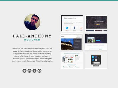 Profile page clean minimal profile dale portfolio dribbble