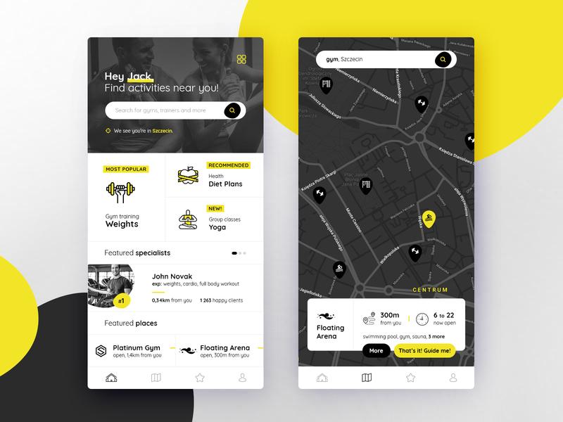 Salugeo App search trainer sport mobile ui mobile app design map black yellow localization geo application app ux ui design