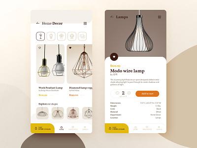 Home Decor app concept concept application home decor rounded ecommerce app ecommerce interface beige lamp store mobile ui mobile web app ux design ui
