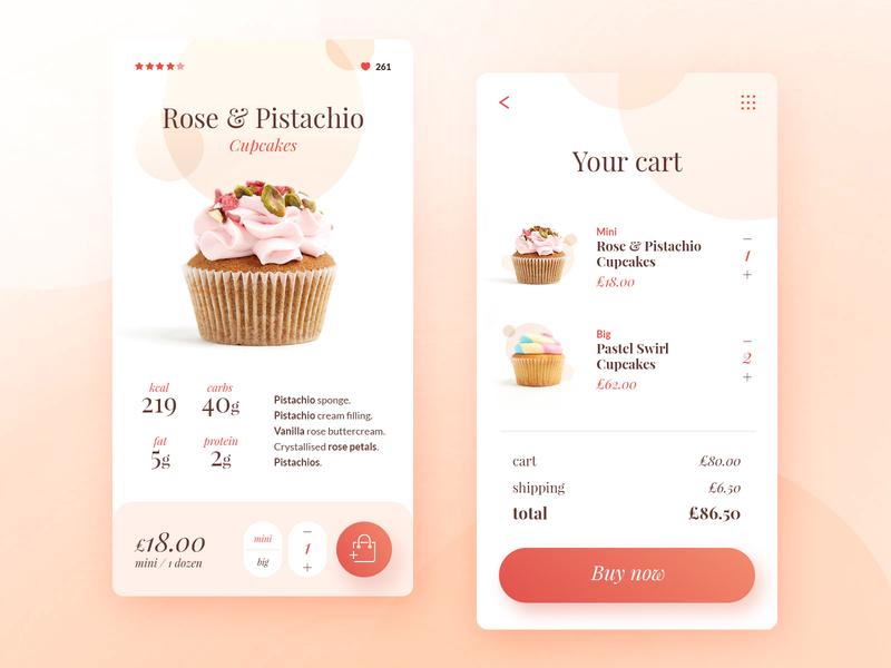 Cupcake mobile shot gradient application ecommerce design ux design ui design bakery pastel cupcake shop store cart ecommerce mobile app ux ui design