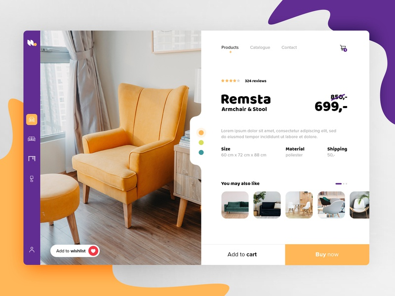 Product page concept product home furniture shop store ecommerce icon application webdesign ui design web app ux ui design
