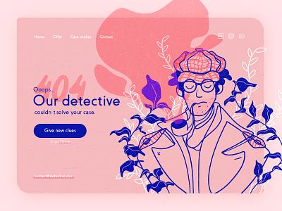 404 page detective floral ui designs pink blue affinity designer error page error 404 error 404 page 404 webdesign ui design web drawing illustration design ui