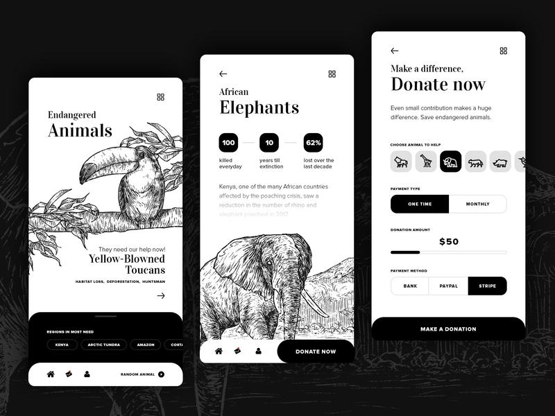 Endangered species app concept form minimalistic white black mobile ui sketch donation endangered animals ux design application mobile drawing ui design web illustration app ux design ui
