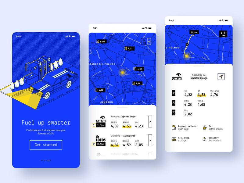 Fuel Up Smarter app linework map navigation gas station fuel car isometric mobile ui ux design application mobile drawing ui design illustration app ux design ui