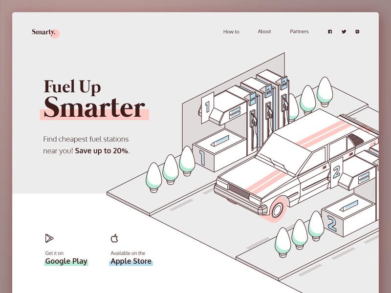 Fuel Up Smarter www landing fuel car linework line store app vector ux design landing page webdesign web drawing ui design illustration ux design ui