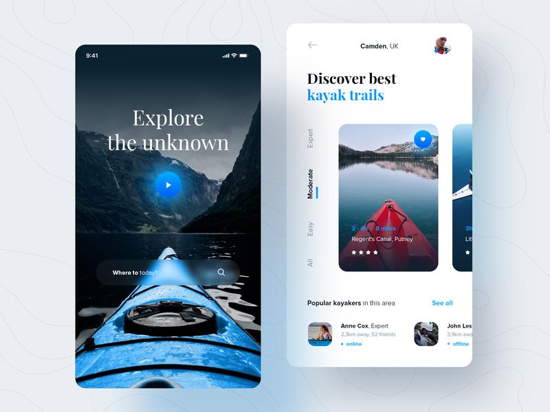 Kayak trails finder clean minimalistic travel canoe search kayak ux design application mobile ui design app ux design ui