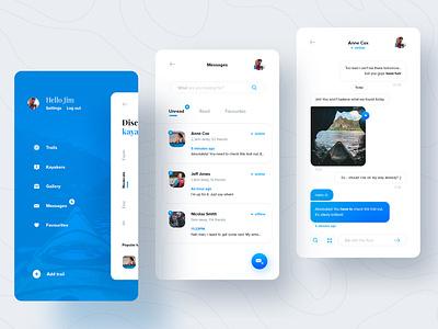 Kayak trails finder chat message kayak menu messenger mobile ui ux design application mobile ui design app ux design ui