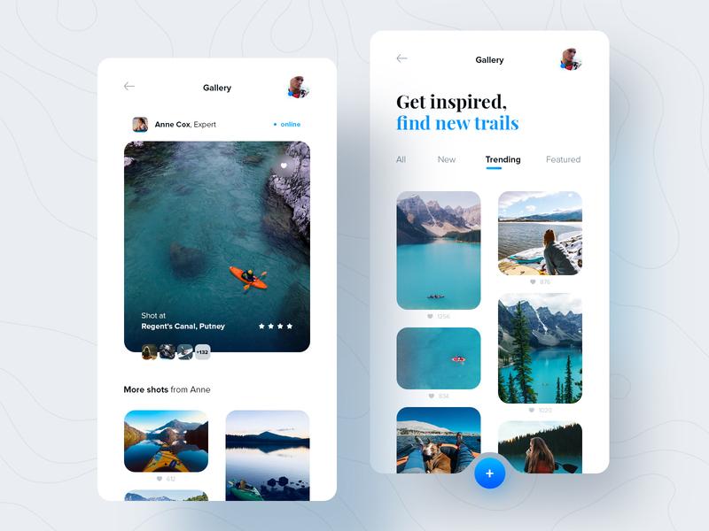 Kayak trails finder tiles trails travel gallery kayak mobile ui ux design application mobile ui design app ux design ui