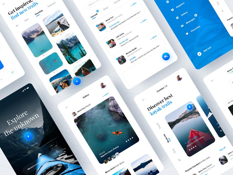 Kayaking Trails App concept kayaking fireart ux design mobile ui application mobile ui design app ux ui design