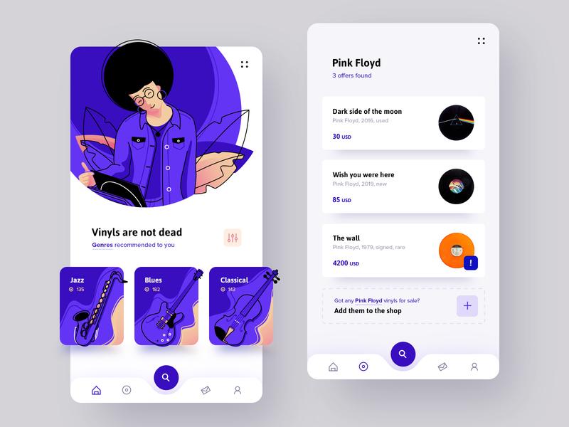 Vinyls are not dead social store music vinyl fireart studio fireart mobile ui application mobile illustration ui design app ui ux design