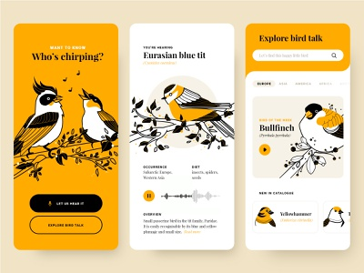 Who's chirping? voice recording concept product design flat fireart studio fireart bird mobile ui drawing application mobile illustration app ui design ui ux design