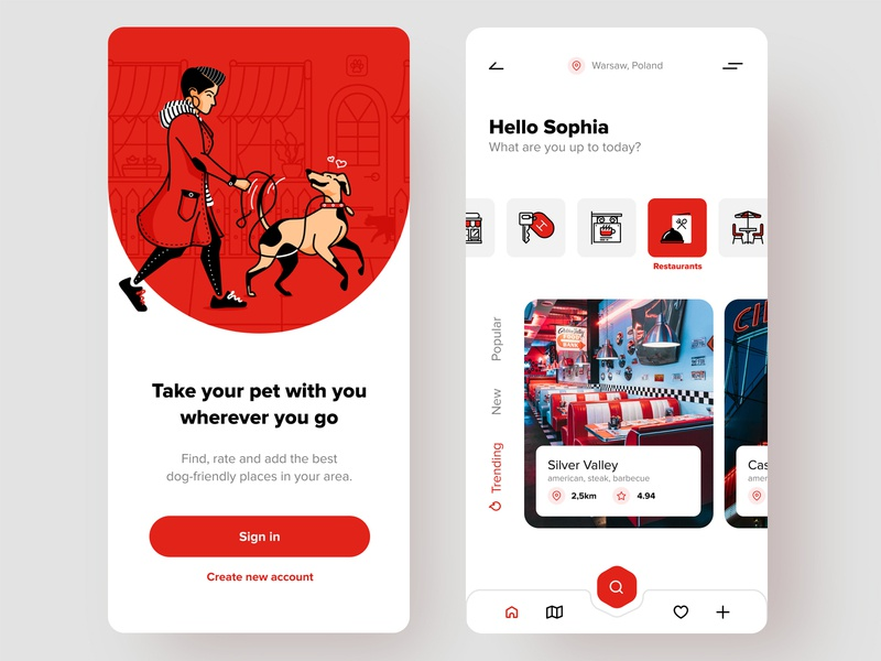 Pet-friendly places dogs icons fireart studio fireart dog pet mobile ui drawing illustration application mobile ui design ui app ux design