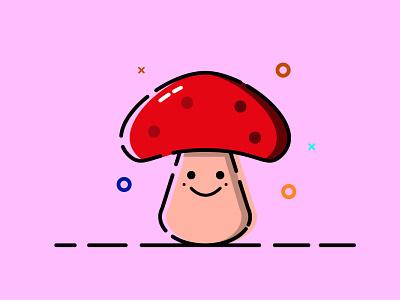 Mushroom mbe style mbe illustrator illustration vector forest toadstool mushroom