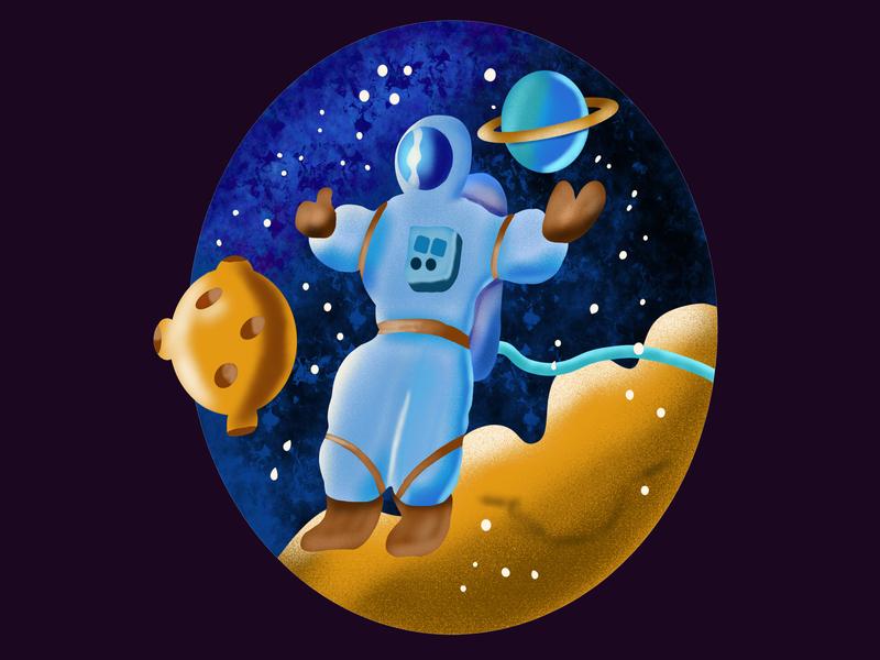 Astronaut spacecraft design illustration planet stars space cosmos astronaut ipad procreate