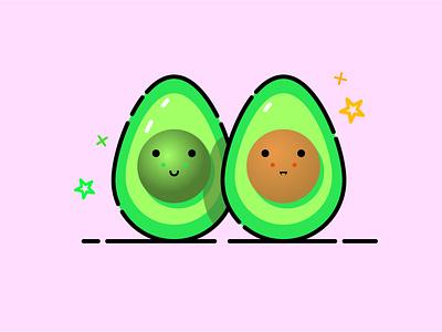 Avocado smile icons emoji illustration character design character cut healthy food health fruit food avocado