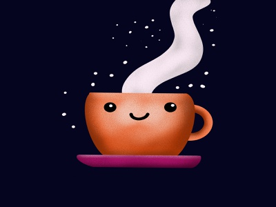 Coffee Cup v.2 milky way stars illustration ipad procreate character design emoji caffeine relax cute smile coffee cup cup coffee
