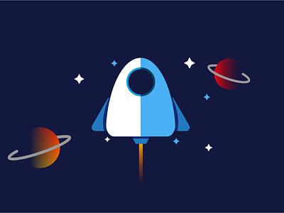 Spaceship II vector illustration vector planet mbestyle mbe illustrator illustration cosmos ship spaceship