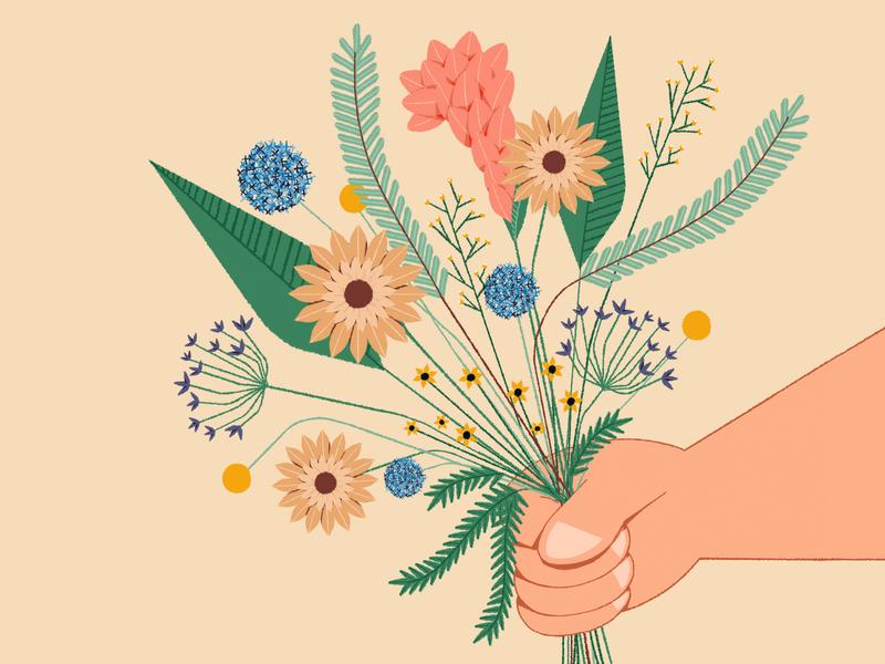Flowers surprise present brushes 2d hand flowers drawing design artwork illustration illustrator