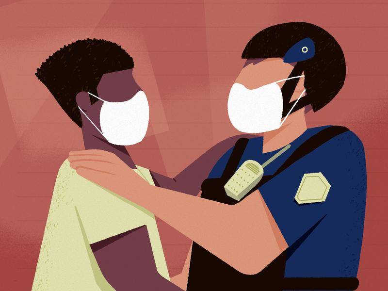 Black lives matter policeman hug protest drawing artwork 2d illustration blacklivesmatter