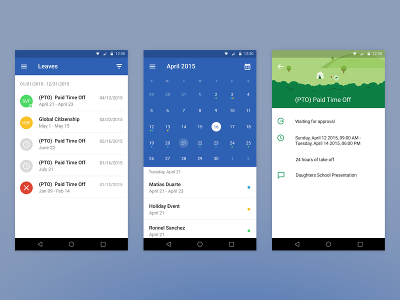 Leave System - Mobile Android App by Ronnel Sanchez on Dribbble