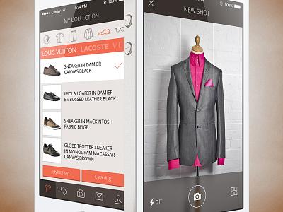 The Virtual Wardrobe mobile app wardrobe virtual stylist app ux ui fashion iphone 5s photo ios7