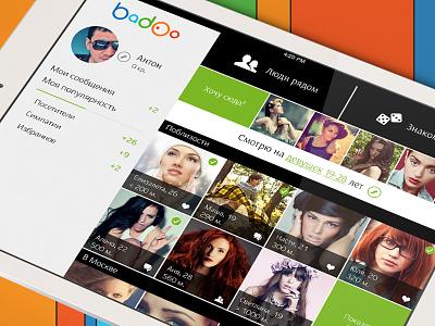 Badoo user profile for iPad badoo profile photo ipad ui ux tiles concept interface flat app