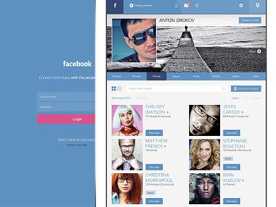Facebook Login & Profile Page facebook flat concept app ipad ui ux friends profile login list user