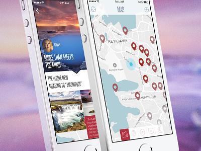 Feeltrip flat mobile app iphone 5s travel iceland ui ux photo facebook twitter