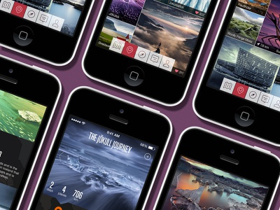 Feeltrip Screens flat mobile app iphone 5s travel iceland ui ux photo facebook twitter