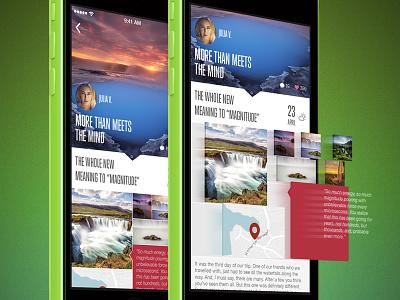 Feeltrip Story flat mobile app iphone 5s travel iceland ui ux photo facebook twitter