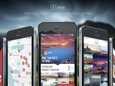 Feeltrip Poster flat mobile app iphone 5s travel iceland ui ux photo facebook twitter
