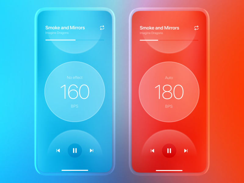 Second Wind App facelift play ios gradient clean colors minimal music ux ui player mobile interface icons app