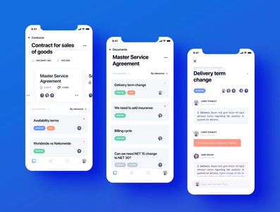 Parley App Design layout chat users ux ui negotiation mockup mobile minimal icons documents design dashboard blue crisp clean cards business app