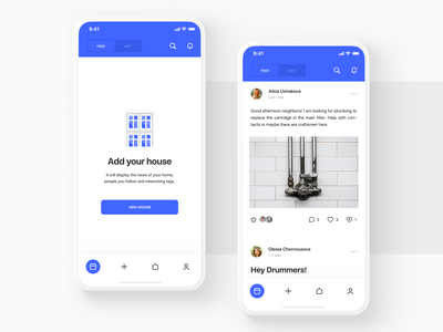 ForumDoma app design post ux ui mockup illustraion feed mobile white minimal icons crisp clean social media forum app