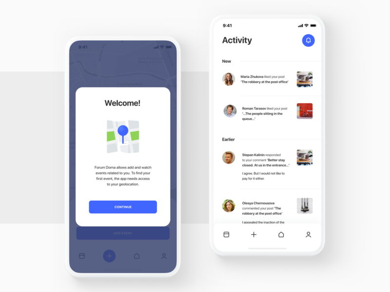 ForumDoma app design pin map welcome activity white ux ui socialmedia post mockup mobile mobile design minimal illustraion icons forum feed crisp clean app