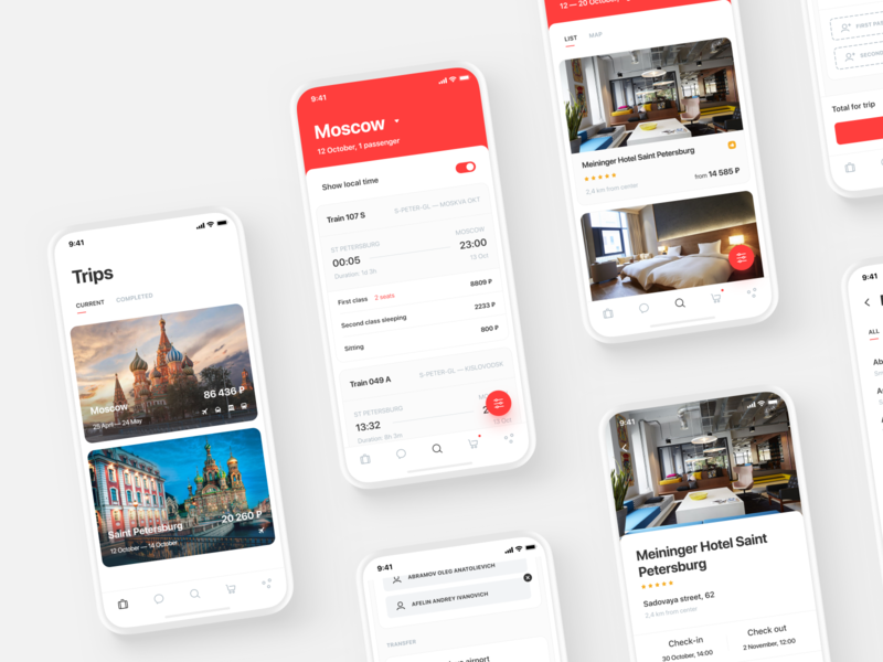 Smartway App Design clean layout ux ui travel mockup tickets search mobile design mobile icons trip trains hotels flights filter business booking app