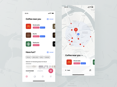 Map UI qr tags tabs categories white clean ux ui recommendations icons places search map