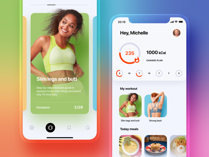 Fitness App Design crisp clean fresh training food cards workout girls gradient icons ux ui colors dashboard mobile design app fitness