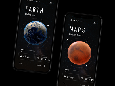 Solar System App Design sci-fi tech interface icons layout dark details app mobile design ux ui space solar system planets moon earth astronomy