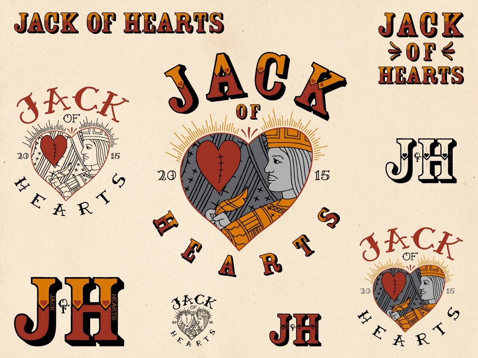 JACK OF HEARTS tattoo design tattoo art lettering logo inspiration brand design badge branding design logo typography illustration brand identity