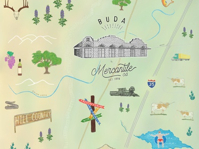 Snapshot from a map for Buda Mercantile Co.