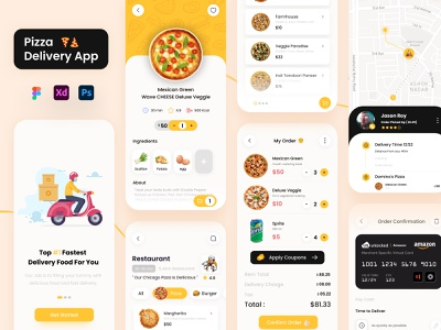 Pizza Food Delivery App clean 2d design illustraion logo yellow vector ux ui food delivery restaurant app food and drink eating food order chef app food delivery service pizza app delivery app branding app