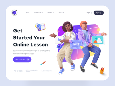 Online Educational Landing Page Template design clean ui ux homepage e-learning online course learning app virtual class learn education app education school app course app course online school online learning online class 3d 3d object