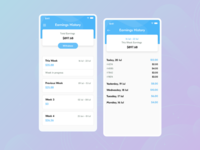 Earnings History Screens For Laundry Delivery Boy App mobile app development uiuxdesign laundry app