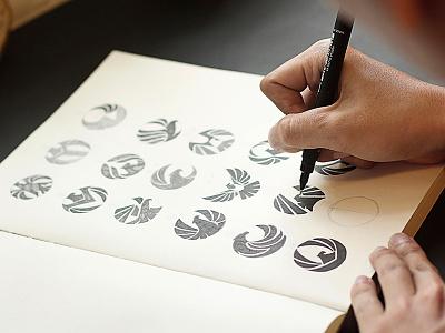 Logo sketching  logo design process logo sketching branding agency vietnam logo designer vietnam bird eagle logo concept advertising agency vietnam bratus logotype symbol vietnam