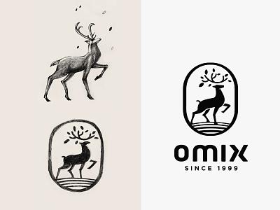 Omix - Logo sketch brand mark branding agency vietnam logo designer vietnam symbol animal deer jimmi tuan bratus agency sketch