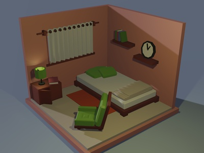 Low Poly room render design low poly 3d art