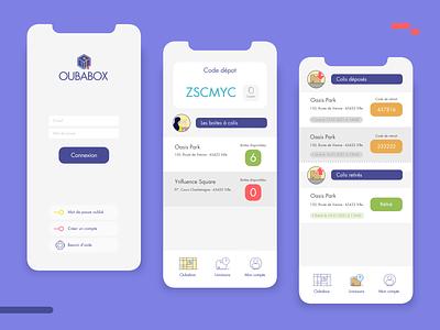 Oubabox app ui ux vector illustration flat app design