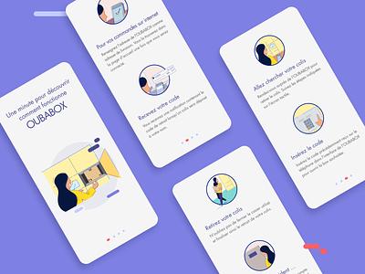 Oubabox app tutorial tutorial vector ux ui illustration flat app